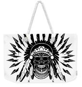 American Indian Skull Icon Background, Black And White  Weekender Tote Bag