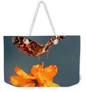 American Lady Butterfly Lands On Cosmos Flower Weekender Tote Bag