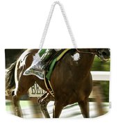 American Pharoah And Victory Espinoza Win The 2015 Belmont Stakes Weekender Tote Bag