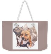 American Pit Bull Terrier Grouping Weekender Tote Bag by Barbara Keith