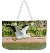 American White Pelican Above The Water Weekender Tote Bag