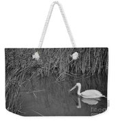 American White Pelican Among Reeds         Minnesota Zoo          Autumn Weekender Tote Bag