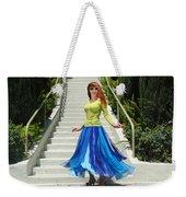 Ameynra Fashion. Petal Skirt. Model Sofia Weekender Tote Bag