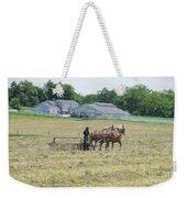 Amish Girl Raking Hay As Painting Weekender Tote Bag