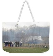 Amish Youth Gather After A Volleyball Game Weekender Tote Bag
