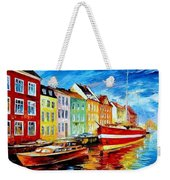 Amsterdam-city Dock - Palette Knife Oil Painting On Canvas By Leonid Afremov Weekender Tote Bag
