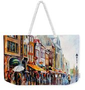 Amsterdam Rain - Palette Knife Oil Painting On Canvas By Leonid Afremov Weekender Tote Bag