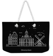 Amsterdam Skyline Travel Poster Weekender Tote Bag