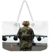 An Airfield Manager Greets An Arriving Weekender Tote Bag