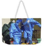 An Airman And A Soldier Jump Into A Tub Weekender Tote Bag by Stocktrek Images