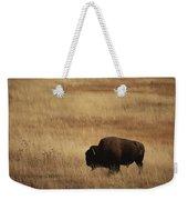 An American Bision In Golden Grassland Weekender Tote Bag