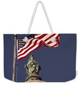 An American Flag And The Statue Weekender Tote Bag