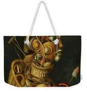 An Anthropomorphic Still Life With Pots Pans Cutlery A Loom And Tools Weekender Tote Bag