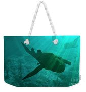 An Armored Bothriolepis Glides Weekender Tote Bag by Walter Myers