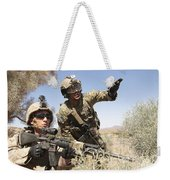 An Army Soldier Informs A Marine Weekender Tote Bag
