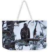 An Eagle Gazing Through Snowfall Weekender Tote Bag