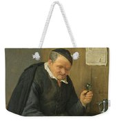 An Elderly Man Seated Holding A Wineglass Weekender Tote Bag
