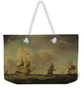 An English Flagship Under Easy Sail In A Moderate Breeze Weekender Tote Bag