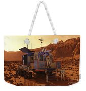 An Explorer Departs A Manned Rover Ina Weekender Tote Bag