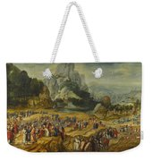 An Extensive Landscape With The Preaching Of Saint John The Baptist And The Baptism Of Christ Weekender Tote Bag