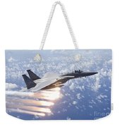 An F-15 Eagle Releases Flares Weekender Tote Bag