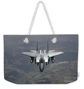 An F-15e Strike Eagle Flies Watch Weekender Tote Bag