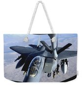 An F-15e Strike Eagle Refuels Over Iraq Weekender Tote Bag