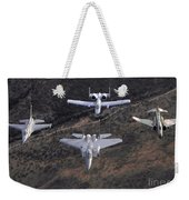An F-16 Fighting Falcon, F-15 Eagle Weekender Tote Bag by Stocktrek Images