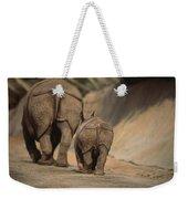 An Indian Rhinoceros And Her Baby Weekender Tote Bag