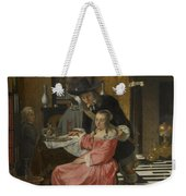 An Interior With A Woman Refusing A Glass Of Wine Weekender Tote Bag
