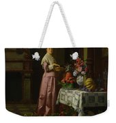 An Interior With Fruit And Flowers Weekender Tote Bag