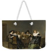 An Interior With Musicians Seated Around A Table  Weekender Tote Bag