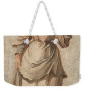 An Old Market Woman Grinning And Gesturing With Her Left Hand Weekender Tote Bag