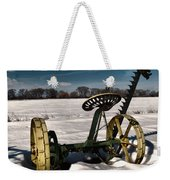 An Old Mower In The Snow Weekender Tote Bag