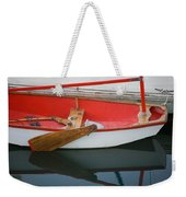 An Old Sailboat Tied To The Dock Weekender Tote Bag