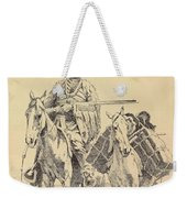 An Old Time Mountain Man With His Ponies Weekender Tote Bag