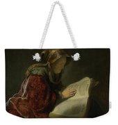 An Old Woman Reading - Prophetess Hannah Weekender Tote Bag