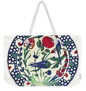 An Ottoman Iznik Style Floral Design Pottery Polychrome, By Adam Asar, No 1a Weekender Tote Bag