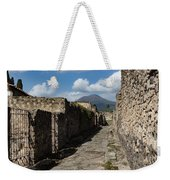 Ancient Pompeii - Empty Street And Mount Vesuvius Volcano That Caused It All Weekender Tote Bag