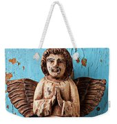 Angel On Blue Wooden Wall Weekender Tote Bag