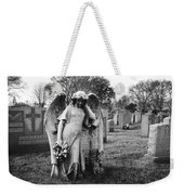 Angel On The Ground At Calvary Cemetery In Nyc New York Weekender Tote Bag