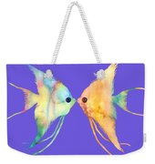 Angelfish Kissing Weekender Tote Bag by Hailey E Herrera