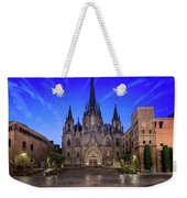 Angels Flying In Front Of The Cathedral Of The Holy Cross And Sa Weekender Tote Bag