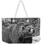 Angry Bear Black And White Weekender Tote Bag