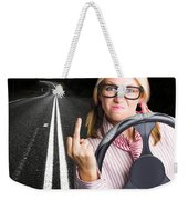 Angry Business Woman Expressing Road Rage Weekender Tote Bag