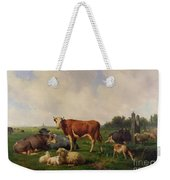 Animals Grazing In A Meadow  Weekender Tote Bag by Hendrikus van de Sende Baachyssun