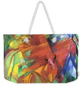 Animals In Landscape Red And Yellow Bulls Resting Weekender Tote Bag