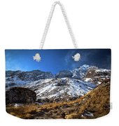 Annapurna Trail With Snow Mountain Background In Nepal Weekender Tote Bag