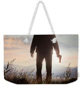 Anonymous Man In Silhouette Holding A Gun Weekender Tote Bag