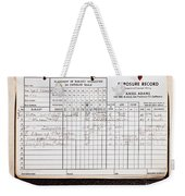 Ansel Adams Photography Exposure Record Log Weekender Tote Bag